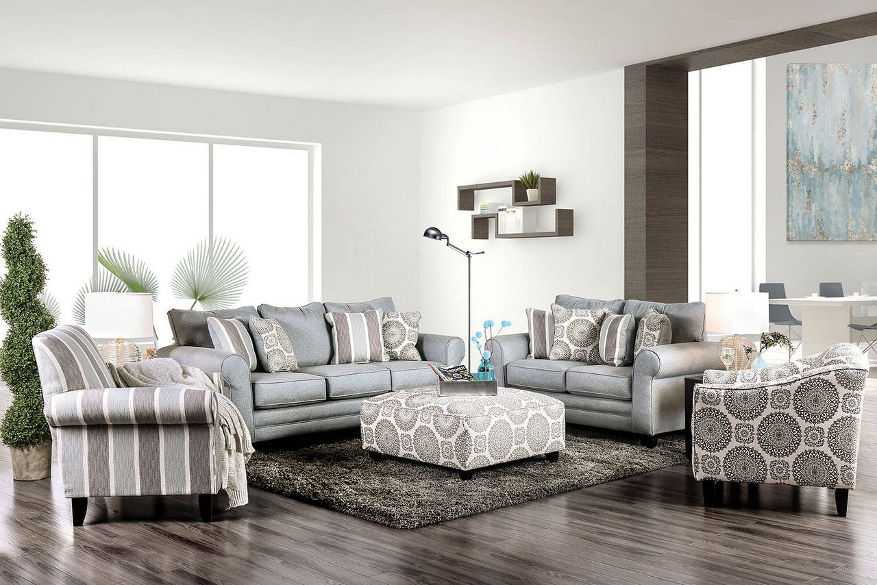 Grey And White Striped Accent Chair: Colette Transitional Blue/Grey Striped High Back Accent