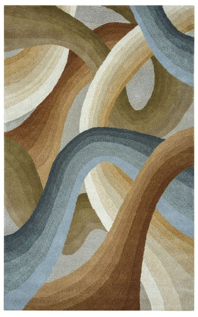 Colours Abstract Swirl Wool Area Rug In Tan Green Blue Brown 2 X 3