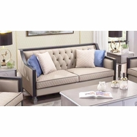 Contemporary Sofa Contrasting Exposed Wood Frame  Beige Button Tufted Fabric