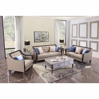 Contemporary Transitional Living Room Set Dark Wood & Beige Button Tufted Fabric