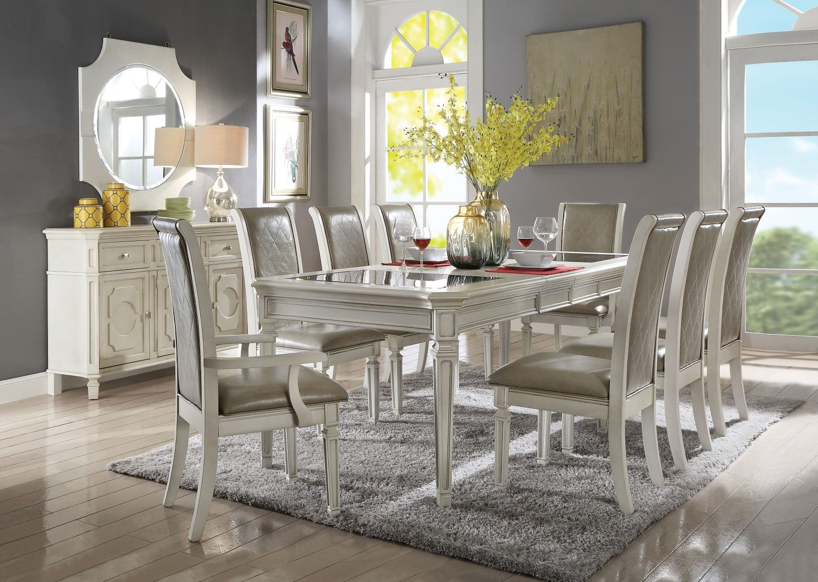 Cordelia 68 Quot 96 Quot Black Tempered Glass Top Dining Table Set