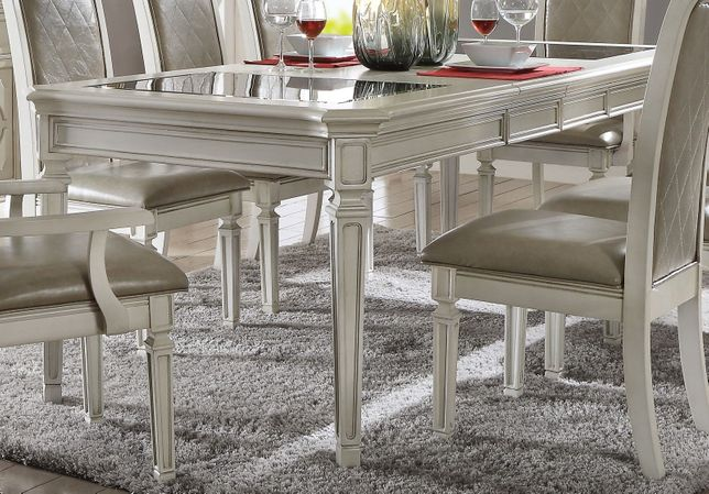 Cordelia 68 96 Dining Table W Black Tempered Glass Top In Antique White Finish