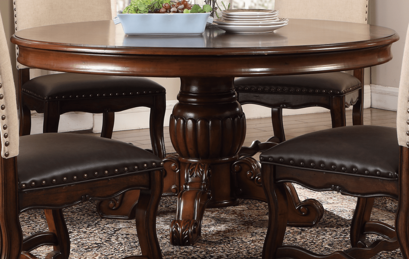 """coruna traditional 60"""" round dining table with ash burl"""