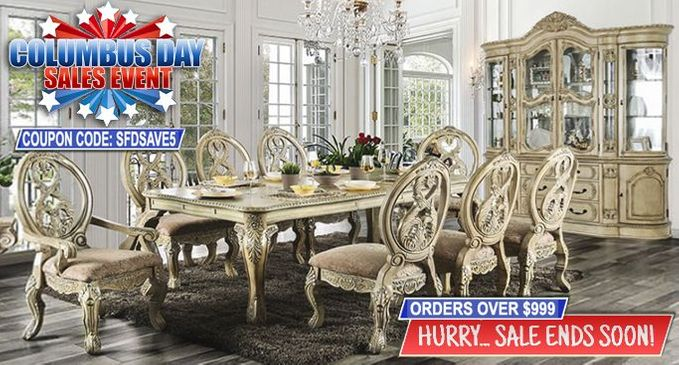 Shop Factory Direct Columbus Day Sale SAVE BIG on Formal Dining Room Furniture!