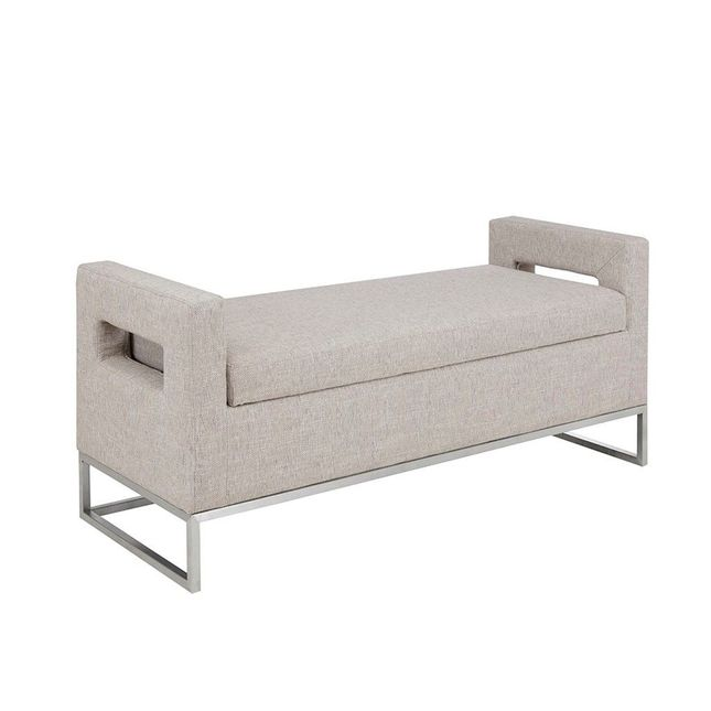 Crawford Transitional Storage Bench in Soft Gray Upholstery with Brushed Silver Legs