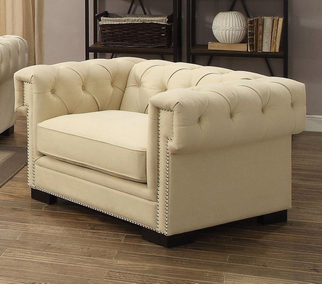 Creme Tufted Chair In Sophisticated Cream Velvet with 8-way Suspension