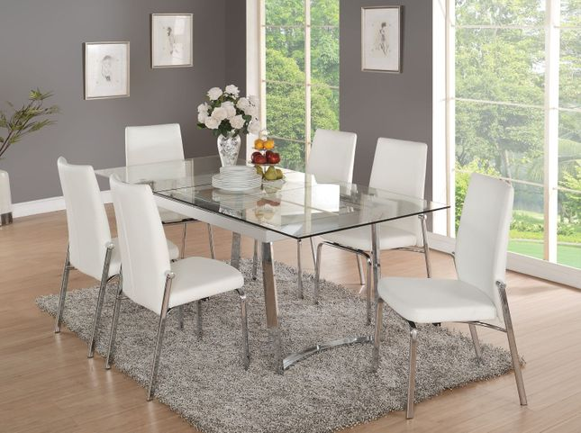 79 Tempered Glass Top Dining Table Set, Glass Top Dining Room Table