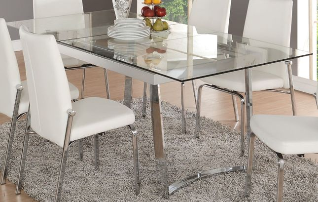 Cyrene Contemporary 63 79 Tempered Glass Top Dining Table With Chrome Base
