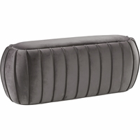 Dandrea Transitional Grey Velvet Oval Ottoman Bench with Channel Tufted Design