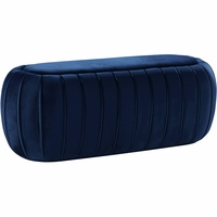 Dandrea Transitional Navy Blue Oval Ottoman Bench with Channel Tufted Velvet