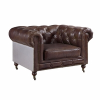 Dark Brown Chesterfield Chair 100% Genuine Leather Aircraft Aluminum Trim
