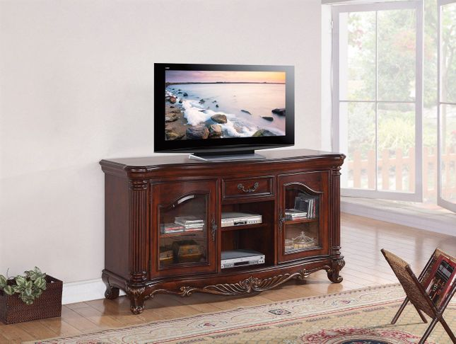 Radbourne Traditional Storage TV Stand w/ Carved Details in Cherry Finish