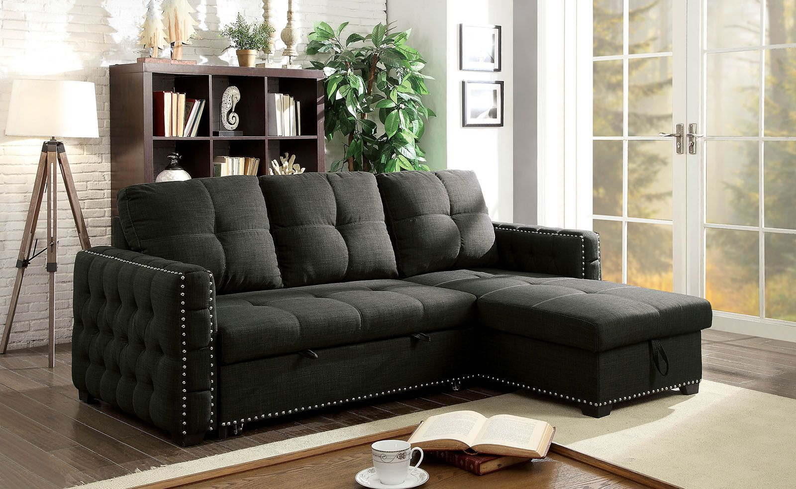 Demi Transitional Dark Gray Button Tufted Sectional ...