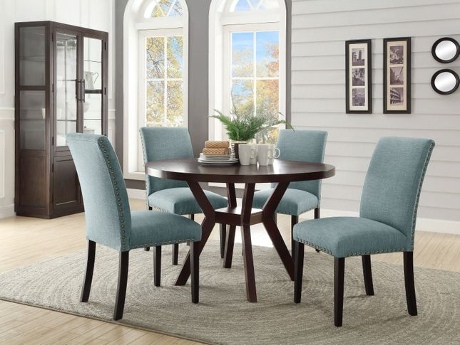 Incredible Desmond 48 Round 5Pc Dining Table Set Espresso W Nailhead Squirreltailoven Fun Painted Chair Ideas Images Squirreltailovenorg