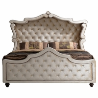Diamond Golden Beige Cream Velvet Upholstered King Canopy Bed with Crystal Tufting