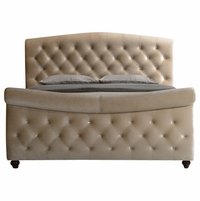 Diamond Golden Beige Cream Velvet Upholstered King Sleigh Bed with Crystal Tufting