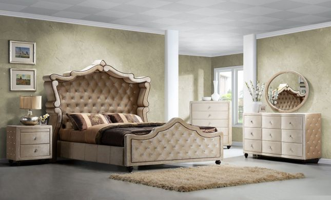 Diamond King Canopy 4-Pc Bedroom Set in Golden Beige Crystal Tufted Velvet