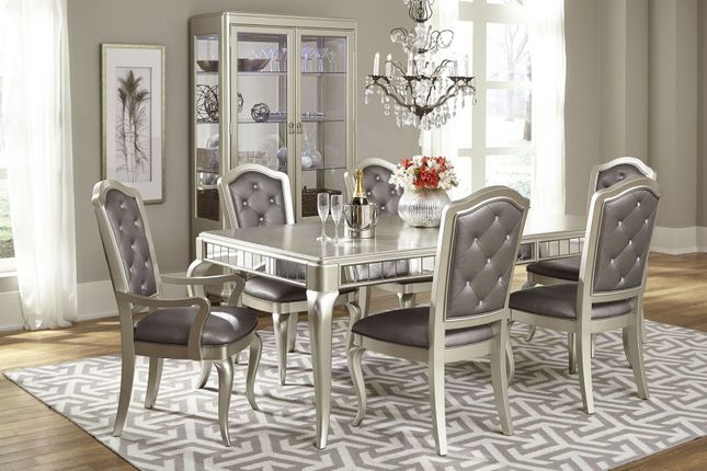 Dining Diva Silver Glam Dining Room Table 4 Side Chairs Set Opt Sideboard Arm
