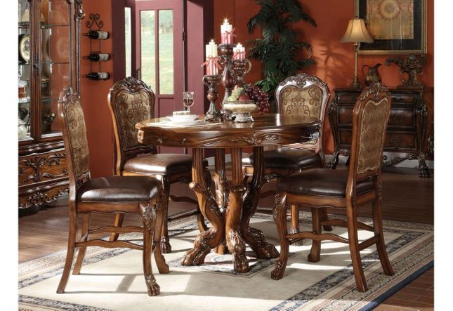 Dresden 5pc Antique Style 48 Wood Counter Height Dining Set In Cherry Oak