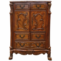 Dresden Ornate Antique Style 2-Door Chest with Carved Detail in Cherry Oak Finish