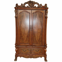 Dresden Traditional Ornate Antique Style TV Armoire in Cherry Oak Finish