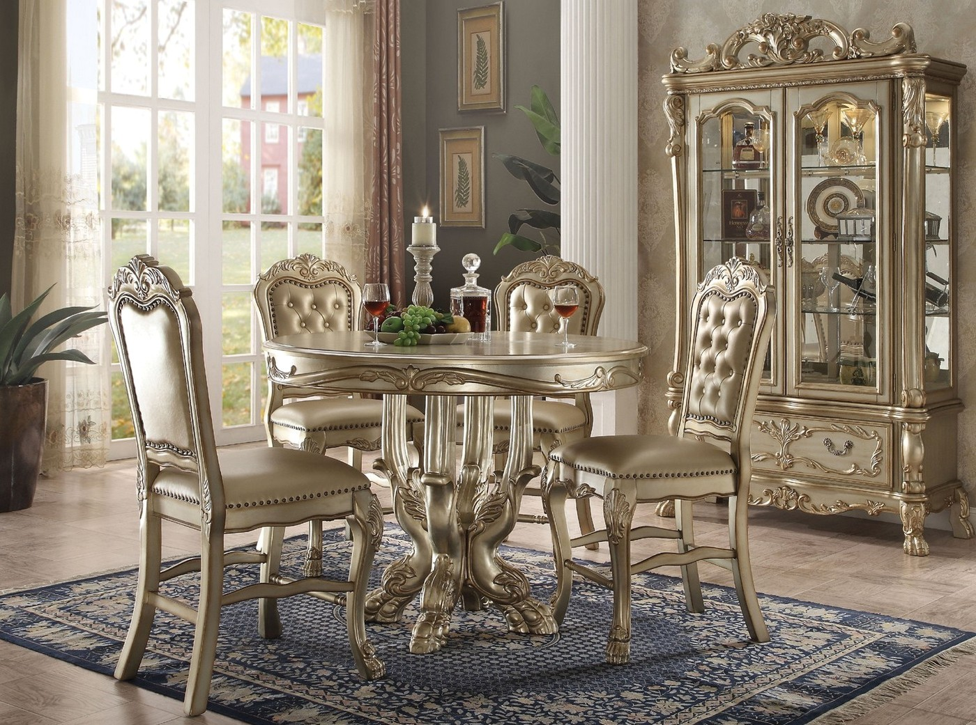 Dresden Carved Wood 5pc 48 Quot Counter Height Dining Table