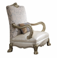 Dresden II Traditional Formal Arm Chair In Antique Pearl White & Gold Patina