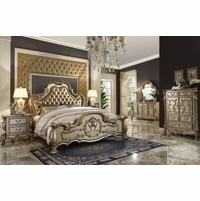 Dresden Luxury 4pc California King Bedroom Set in Antique Gold Patina Finish