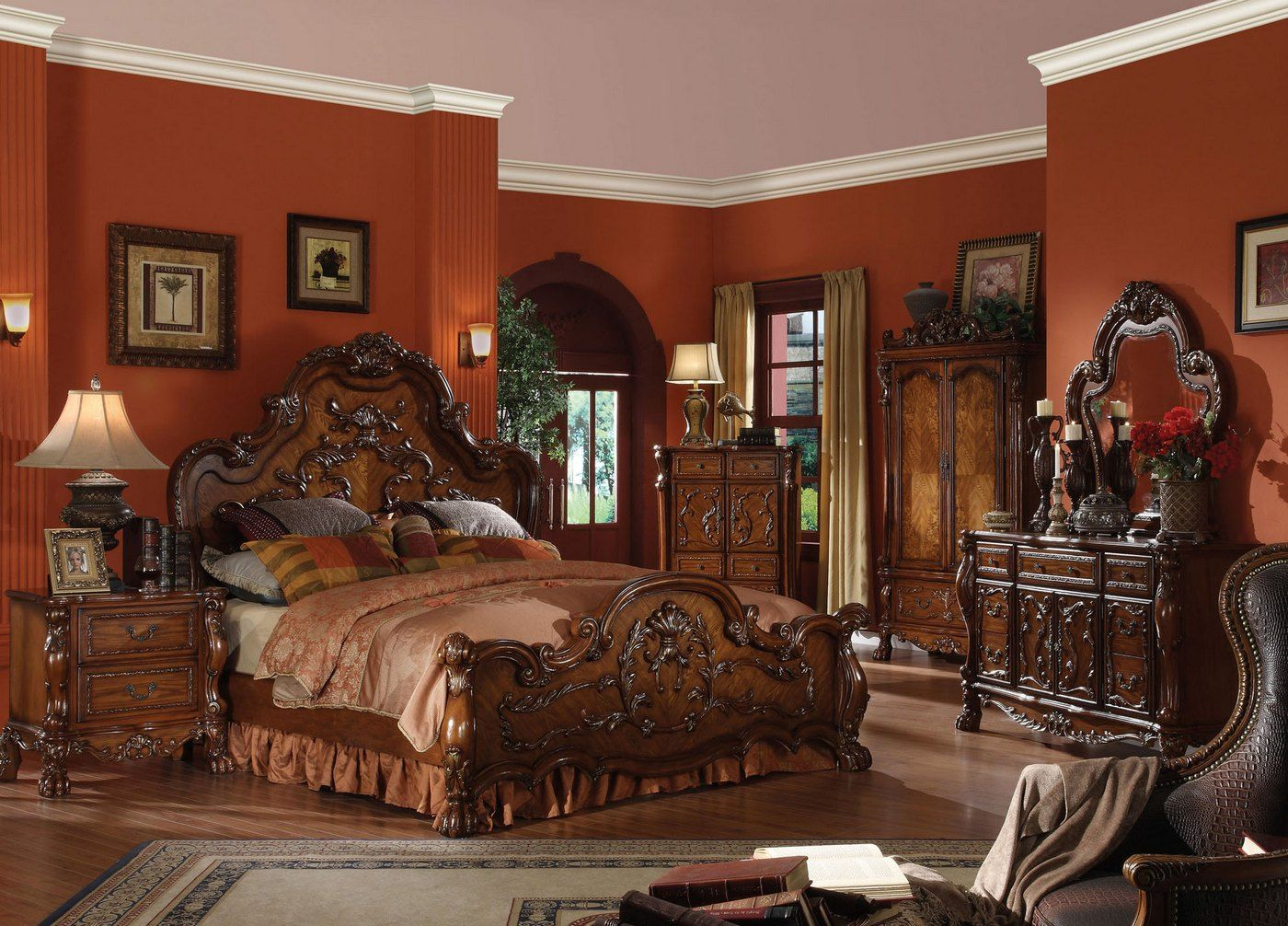 dresden traditional 4pc california king bedroom set in