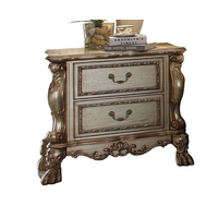 Dresden Traditional Luxury Ornate 2-DrawerNightstand in Antique Gold Patina
