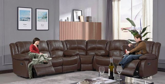 Dark Brown Genuine Leather Reclining 3 Piece Sectional Sofa Contrast Stitching