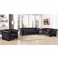 Dynasty 100% Genuine Leather Chesterfield 3-pc Sofa Set in Navy Blue