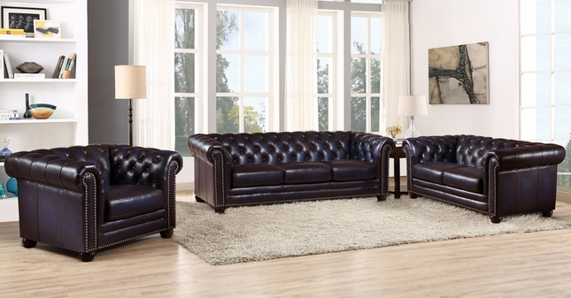 Dynasty 100% Genuine Leather Chesterfield 3-pc Sofa Set in ...