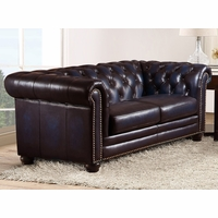 Dynasty 100% Genuine Leather Chesterfield Loveseat in Hand Rubbed Navy Blue