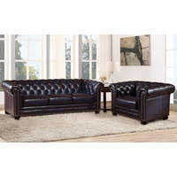 Dynasty 100% Genuine Leather Chesterfield Sofa & Armchair in Navy Blue