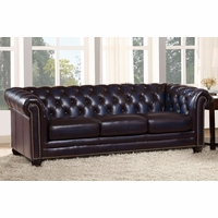 Dynasty 100% Genuine Leather Chesterfield Sofa in Hand Rubbed Navy Blue