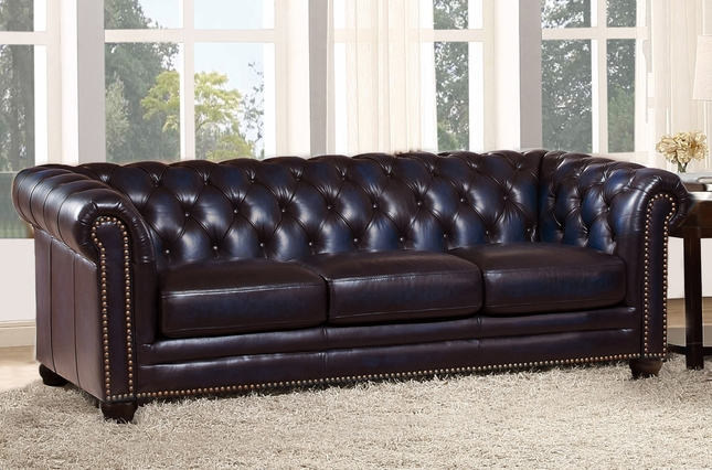 Dynasty 100 Genuine Leather Chesterfield Sofa In Hand Rubbed Navy Blue
