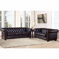 Dynasty 100% Genuine Leather Chesterfield Sofa & Loveseat in Navy Blue