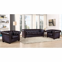 Dynasty 100% Genuine Leather Chesterfield Sofa & Two Armchairs in Navy Blue