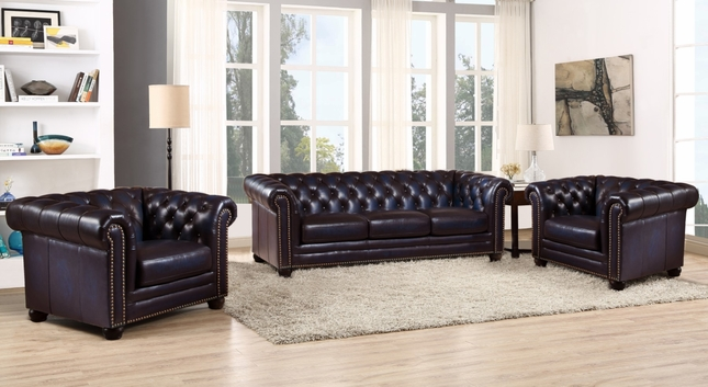 Pleasant Dynasty 100 Genuine Leather Chesterfield Sofa Two Pabps2019 Chair Design Images Pabps2019Com