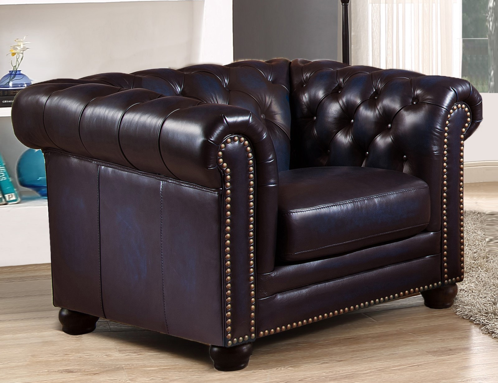 Dynasty 100% Genuine Leather Chesterfield Sofa & Two ...