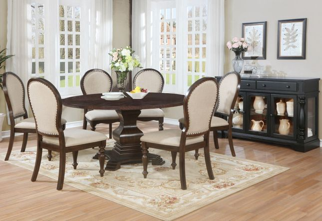 Edenburgh 5pc Solid Wood Carved Round Pedestal Dining Table Set In Brown Finish