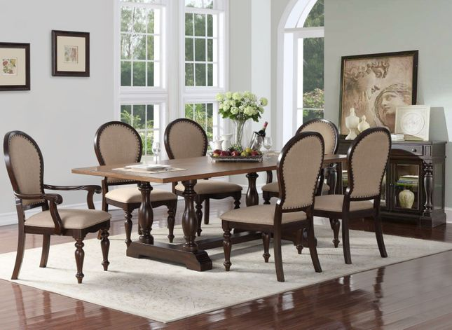 Edenburgh 5pc Solid Wood Dining Table Set with Oversized ...