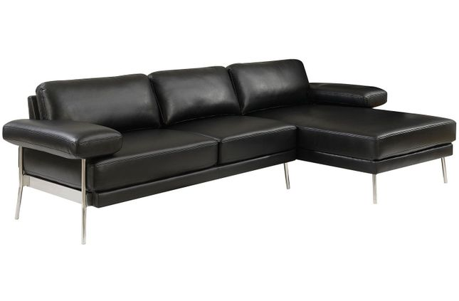Eilidh Contemporary Sectional Sofa in Black Breathable Leatherette Upholstery