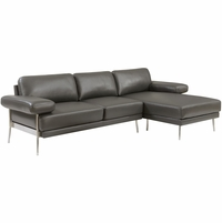 Eilidh Contemporary Sectional Sofa in Gray Breathable Leatherette Upholstery