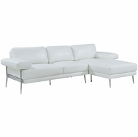 Eilidh Contemporary Sectional Sofa in White Breathable Leatherette Upholstery