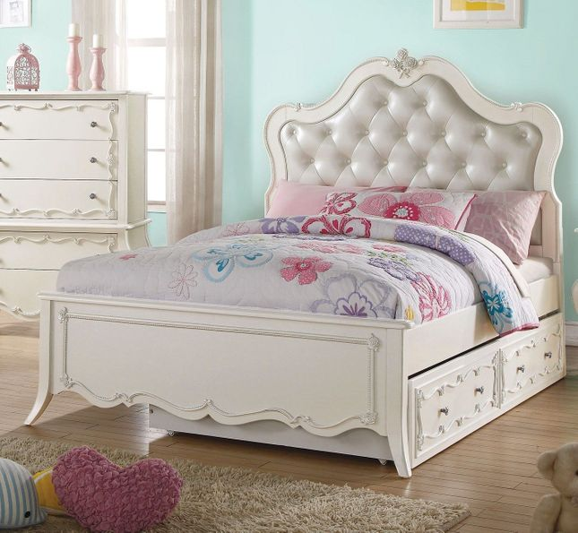 Elaine Kids Traditional Pearl White Upholstered Twin Bed with Rose Inlay