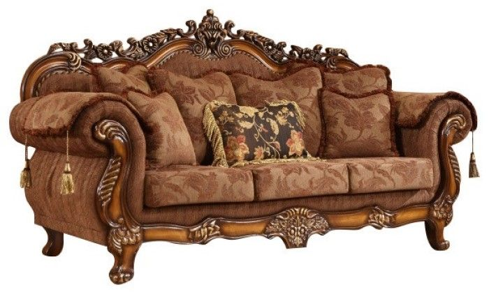 Elianna Victorian Style Brown Fabric Sofa With Cherry