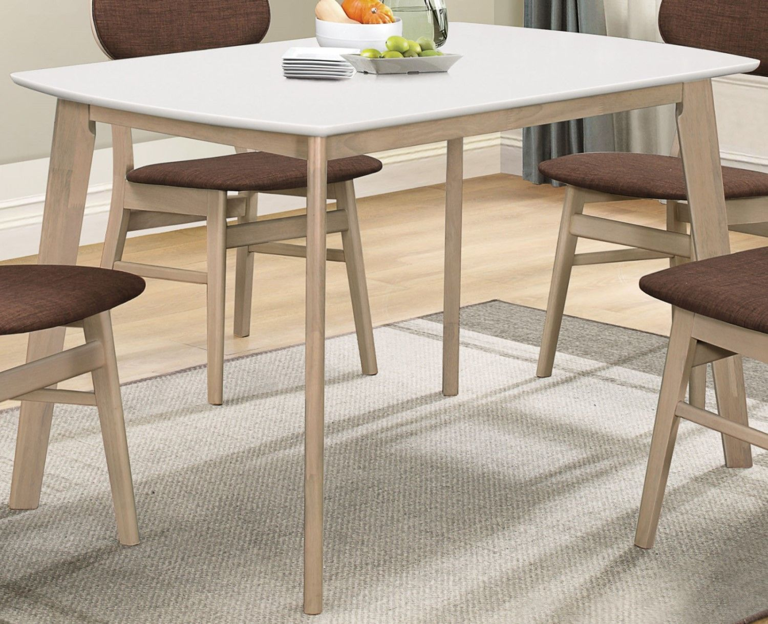 """Emersyn 47"""" White Top Dining Table with Wooden Legs in ..."""