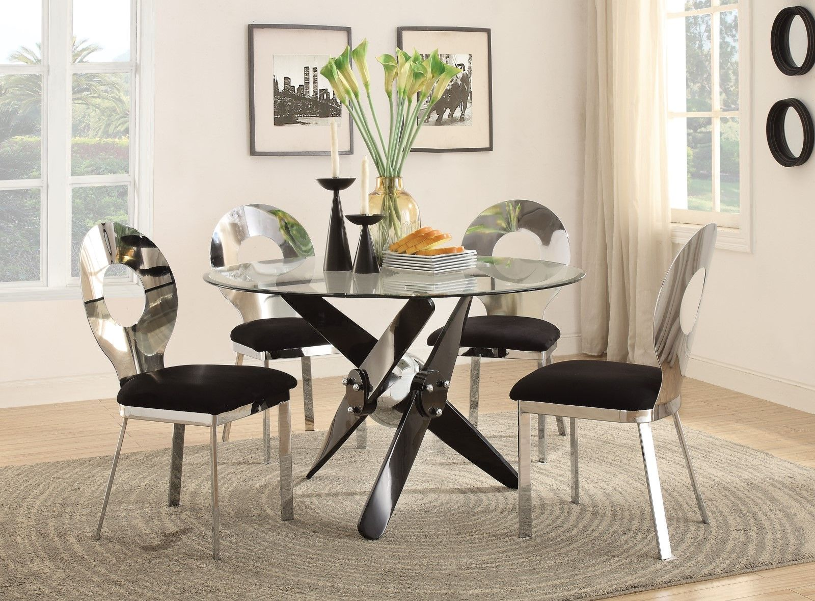 """Emmett Modern 48"""" Tempered Glass Top Round Dining Table w ..."""